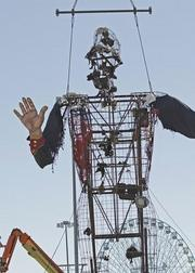 Big Tex was destroyed by fire last year when an electrical short in his boot set the icon ablaze.