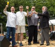 "Lucian M. LaBarba, president of Freshpoint Dallas, helped host the Chefs for Farmers ""Mixin' It Up on the Boulevard"" event at Lee Park. From left: Chefs Stephan Pyles, Dean Fearing, Kent Rathbun and LaBarba."