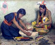 Grinding Corn, by E. Irving Couse (1866-1936)