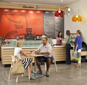 Minneapolis-based Caribou Coffee is one of the stores in the J.C. Penney prototype.