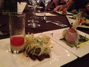 Kitchen LTO's sake glazed pork belly and pink lady apple puree battled Chino's butter poached lobster spring roll.