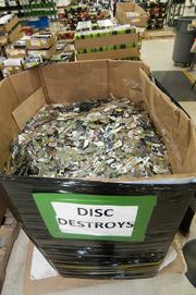 Game media deemed unusable are shredded and discarded.