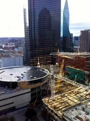 An aerial view of First Baptist Dallas' construction.