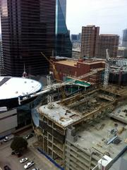 First Baptist Dallas' construction site as seen from above.