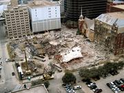 A seen from above, First Baptist Dallas' construction site is a busy place.