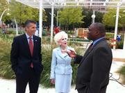 David Cordani, president and CEO of Cigna Corp., Klyde Warren Park benefactor Sheila Grant and LaMonte Thomas, Cigna's president and general manager for North Texas, toured the park and announced Cigna's sponsorship of fitness programs in the park.