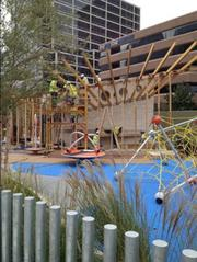 Construction crews were still building a kids' area on Thursday. The restaurant at Klyde Warren Park is yet to be built as well.