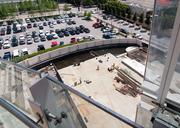 A pool deck under construction at Museum Tower.