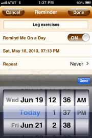 PT Pal's calendar reminds users when to do certain exercises.