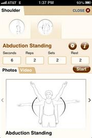 The app shows users how to do various exercises.