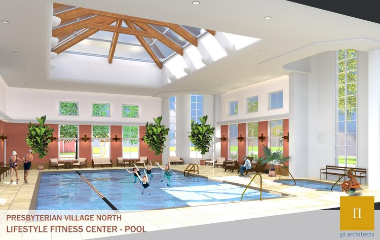 This rendering shows the pool that will be added as part of the $87 million expansion of Presbyterian Village North in Dallas.