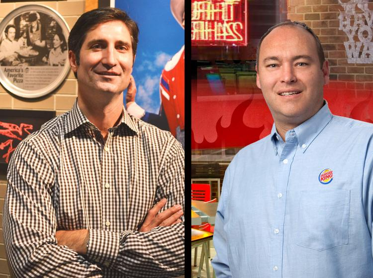 Brian Niccol, general manager of Pizza Hut U.S., of Plano, and Steve Wiborg, president of Burger King Corp., of Miami, have a bet on the Mavs-Heat series.