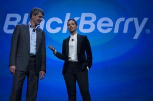 Thorsten Heins with Alicia Keys on stage during the BlackBerry 10 announcement.