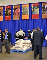 Bags of coffee beans on exhibit at the Dallas Convention Center.