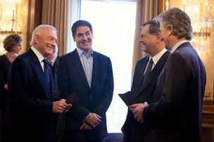 "Cowboys owner Jerry Jones, Mavericks owner Mark Cuban and Dallas Mayor Mike Rawlings appear with actor Patrick Duffy as Bobby Ewing in last night's episode of ""Dallas."""