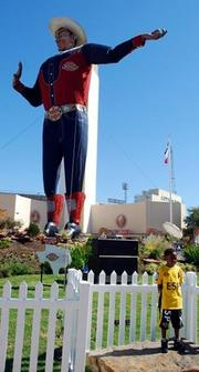 Big Tex, icon of the State Fair of Texas, on a better day.