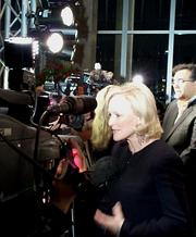 """Actress Glenn Close is interviewed on the red carpet at the Modern Art Museum of Fort Worth before the special showing of """"Albert Nobbs."""""""