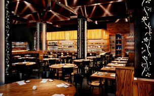 The main dining room at Nobu Dallas.