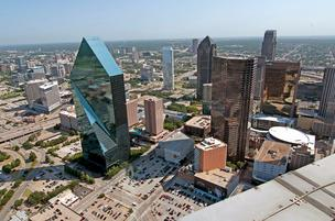 Here's the view the crickets have from atop Renaissance Tower, the second tallest building in Dallas.