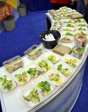 Salads on display at the 7-Eleven University event.