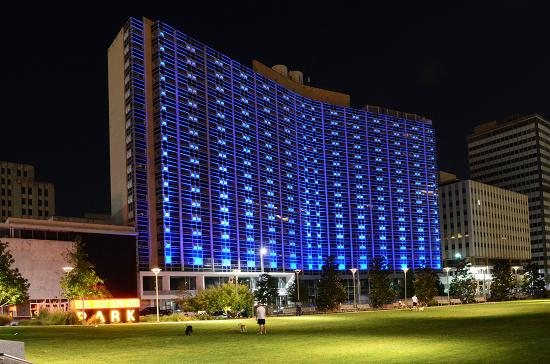 The historic Statler hotel was recently lit up with blue lights as part of the revitalization plan.
