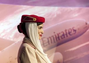 Emirates uniforms are distinctive in the airline industry.