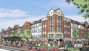 Mustang Station is a $22 million transit-oriented development off the DART Green Line in Farmers Branch.