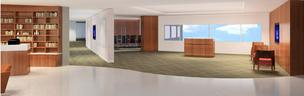 An artist's rendering of the lobby at 1st Global's new headquarters office.
