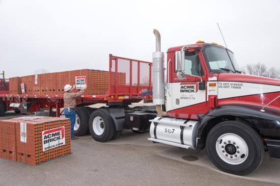 Denton-based Acme Brick Co. sends its first shipment from its new plant in Parker County.