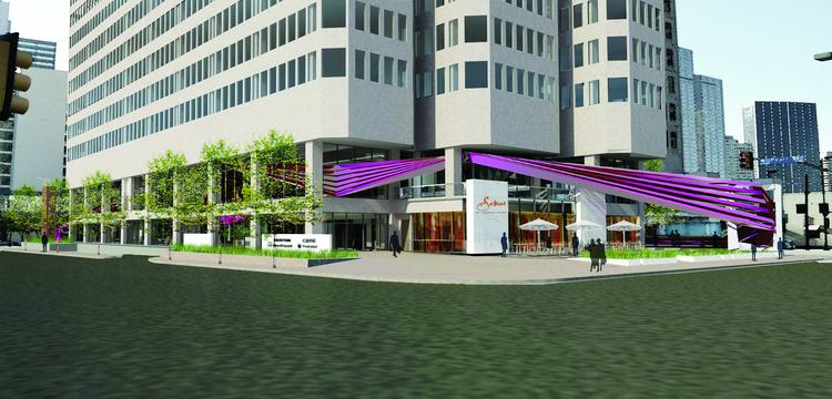 A rendering of the new entry of 2100 Ross Avenue -- once it goes through its makeover -- in downtown Dallas.