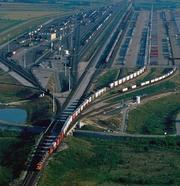 An aerial of the freight at AllianceTexas, which serves as a distribution hub in North Texas.