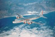 American pioneers transcontinental service in both directions using the Douglas DC-7 in 1953.