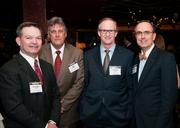 Richard Holt, of Bank of America; Ron Welch of Bauhaus Interiors Group, Harold Gaar of TravisWolf and Brent Christopher of Communities Foundation of Texas, at the DBJ party celebrating the release of the Book of Lists.