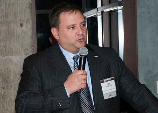 New Dallas Stars owner Tom Gaglardi addresses the guests of the Dallas Business Journal at a party celebrating the release of the Book of Lists.