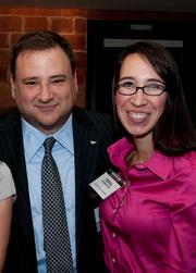 Dallas Stars owner Tom Gaglardi with Teresa Rodriguez of the Dallas Business Journal.