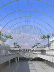A look at the seven-story glass atrium in the shopping center.