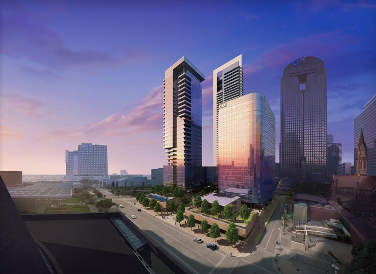 An artist's rendering of Hall Arts, a three-building mixed-use project in the Dallas Arts District.