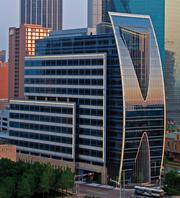 Hunt Corporate Headquarters in downtown Dallas across from Klyde Warren Park is one of the office towers headed to the International TOBY awards in California.
