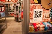 QR codes are available throughout the store.