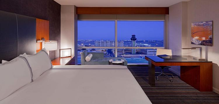 A view of what a renovated room at the Grand Hyatt DFW will look like.