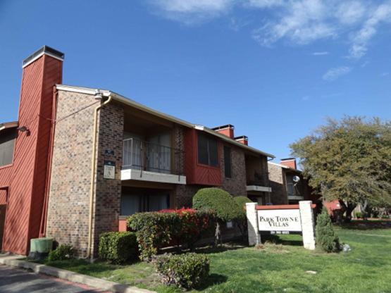 Park Towne Villas is a 90-unit apartment community at 7117 Holly Hill Drive near Greenville Avenue and Park Lane.