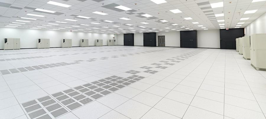 The data center features a raised floor.