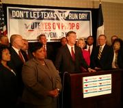Dallas Mayor Mike Rawlings joined other North Texas leaders and Joe Straus, speaker of the North Texas House of Representatives, in support of Proposition 6.