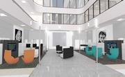 A rendering of the lobby updates to the office building, which will be repositioned under 'Tower 1320.'