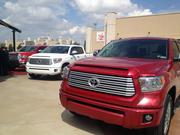 Toyota Tundra trucks were on display during the announcement of the stadium naming rights deal.