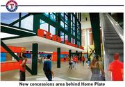 The Texas Rangers are planning upgrades to the concessions behind home plate at Rangers Ballpark in Arlington.