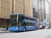 Megabus' fleet includes some double-decker buses.