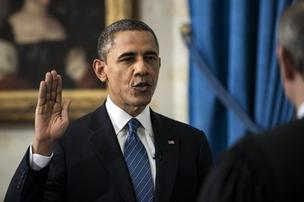 President Obama is officially sworn in for a second term Sunday by Chief Justice John Roberts.