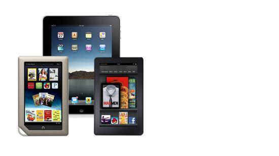 Competing tablets from Barnes and Noble, Apple and Amazon.