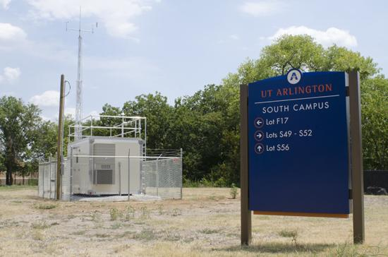 A cleansing breath: An air quality monitor at The University of Texas at Arlington sits about 50 yards from a gas well. It is an auto-gas chromatograph that runs continuously and measures the air for 46 hazardous chemicals, including benzene.